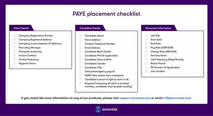 PAYE-placement-checklist
